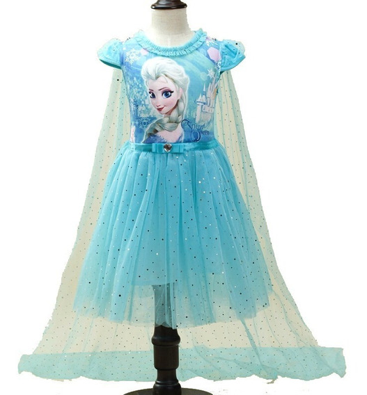 Vestido Infantil Fantasia Frozen Elsa Curto