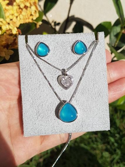 Conjunto Colar Duplo Semijoia Pedra Natural Ágata Azul Céu
