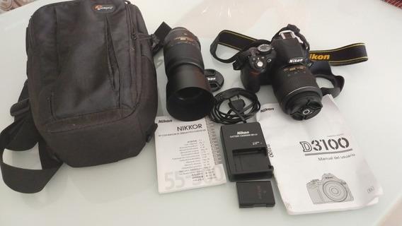 Camera Nikon Dx 3100 + Lente Af 18-55mm + Lente Af 55-300mm