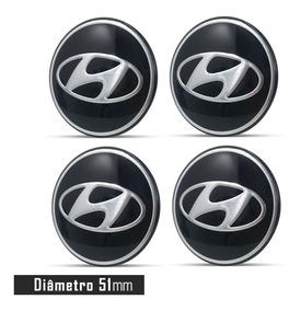 Jogo 4 Emblema Logo Adesivo Roda Hyundai Preto 51mm