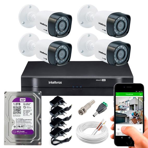 4 Cameras Segurança Hdcvi 1010b Dvr 4ch Intelbras 1104 1t