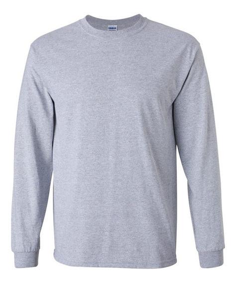 Camiseta Masculina Lisa - Manga Longa - Ótimo Algodão 100%