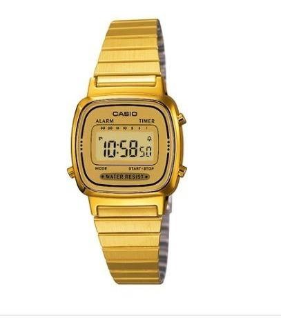 Relógio Casio Vintage Feminino Dourado Digital- La670wga-9df