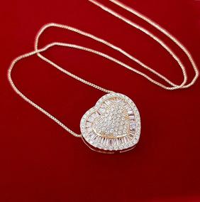 Colar Feminino Namorado Coração Cristal, Banhado Ouro,18k