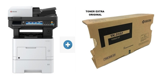 Multifuncional Impressora Laser Mono Kyocera Ecosys M3655idn M3655 + 01 Toner Extra Original Tk-3182 Rede Duplex 12x