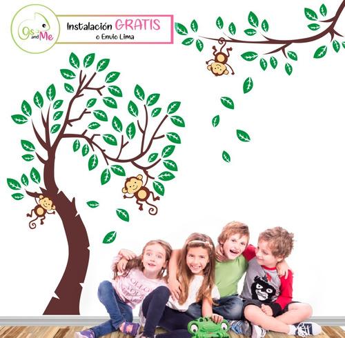 Vinilos Decorativo Infantil Arbol Hojas Monito Decoracion