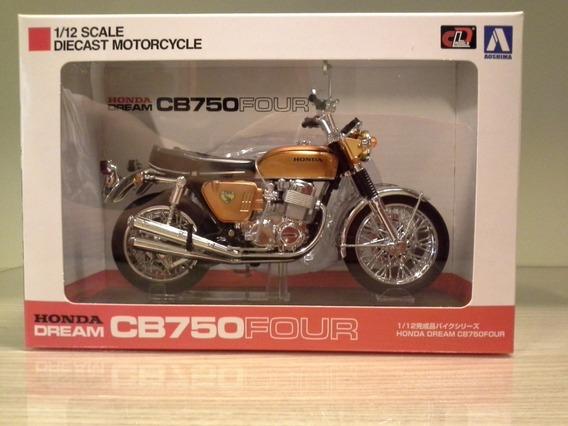Miniatura Honda Cb 750 Cb750 Dourada Aoshima Com Base 1:12
