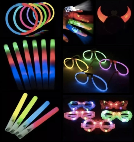 Combo Cotillon Luminoso Led Neon 250 Personas Casamiento