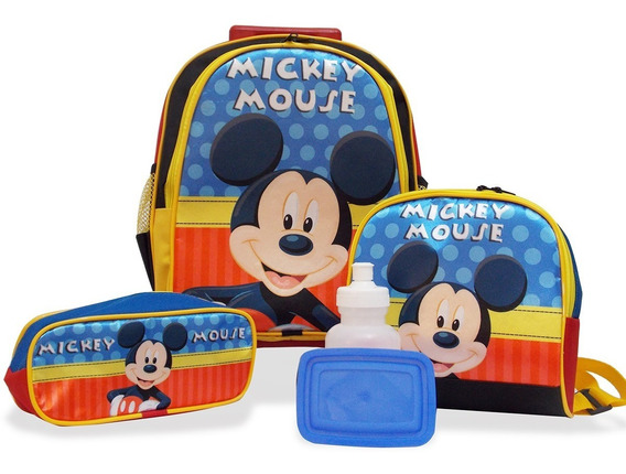 Kit Escolar Infantil Mochila Rodinhas Mickey Tamanho M