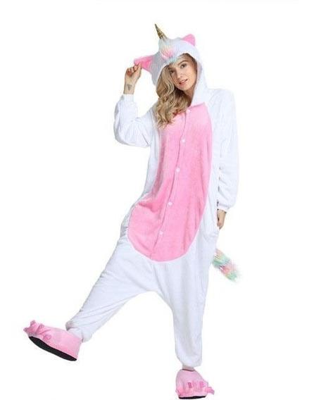 Pijama Mameluco Disfraz Unicornio Blanco Cuerno Dorado Adult
