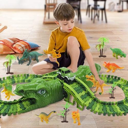 Imagen 1 de 6 de Niños Juguete Dinosaurio Eléctrico Rail Coche 153pcs/set De