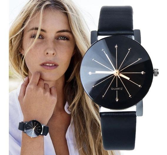 Relógio Feminino Quartz Pulseira De Couro Preta Lisa
