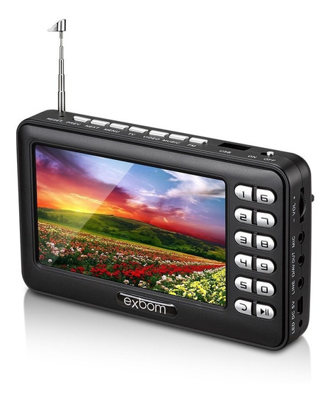 Mini Tv Digital Portatil 4.3 Com Radio Fm Usb Cartao Sd Fone