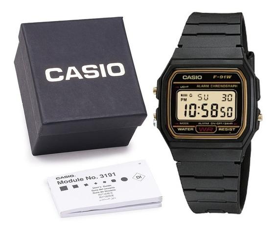 Relógio Casio F-91w Série Ouro Unissex C/ Caixa E Nf