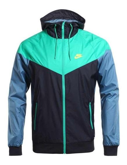 Chaqueta Capucha Nike Hombres Windrunner Verde Negro Azul 72