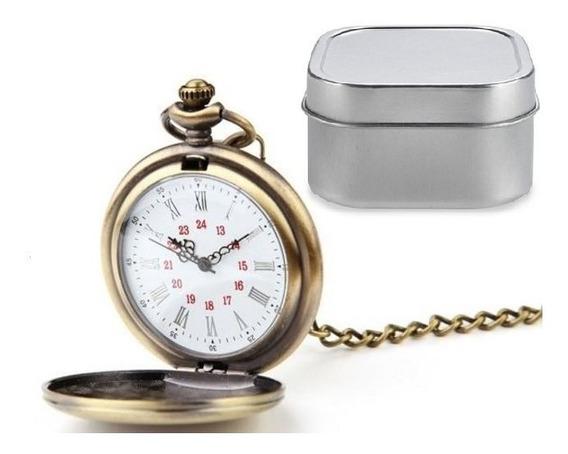 Reloj De Bolsillo Tipo Vintage Dorado Manecillas Romanas 05
