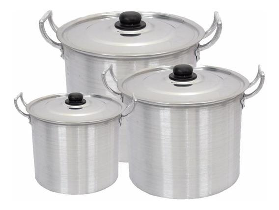 Kit Com 3 Caldeirão Grande Alumínio Sopa Feijoada 11 15 18 L