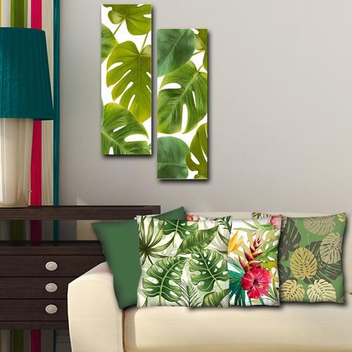 Imagem 1 de 7 de Kit Quadros Decorativos Folhagem 20x60 + 4 Capas De Almofada