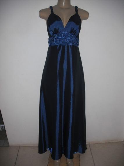 Vestido Longo Azul Bojo M G 46 Festa Gorgeus Bom Estado