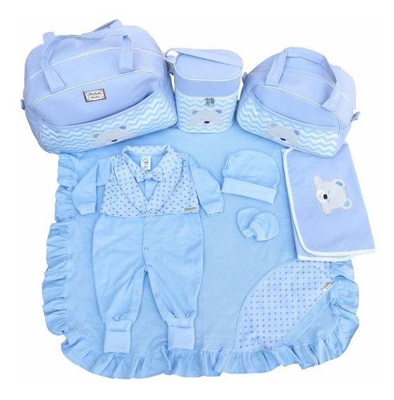 Kit Saidas De Maternidade Com Bolsas 4pcs Azul Bebe Menino