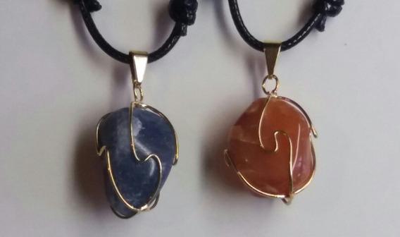 2 Colares Cordão Encerado Com Pedras Sodalita E Cornalina