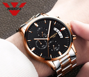 Relógio Nibosi Masculino Aço Prata E Dourado