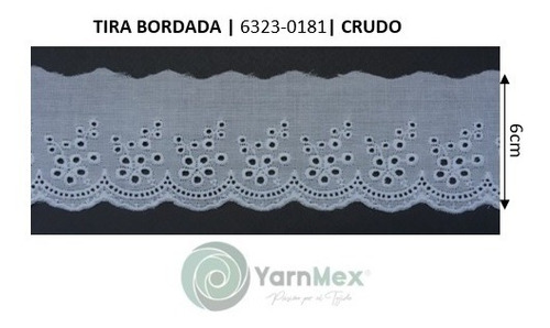 Tira Bordada 6323-0181 | Ancho 6cm | 13.71mts | Sin Plisar