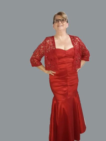 Vestido De Fiesta Largo Strapless Rojo.