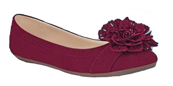 Calzado Zapato Dama Mujer Color Vino Cómodo Flor En 3d