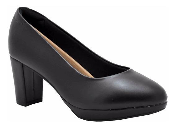 Zapato Taco Cuadrado Confort Massimo Chiesa Negro