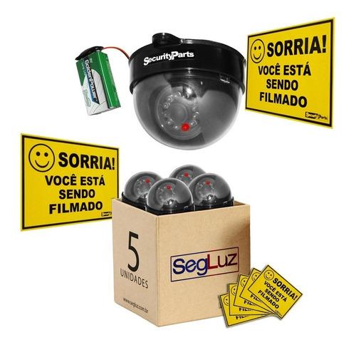 Kit 5 Câmeras Dome Falsa Com Led A Pilha Sem Fio + 5 Placas