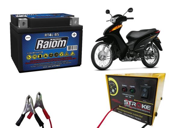 Kit Bateria Moto Ytx4l-bs E Carregador Inteligente 3ah Biz