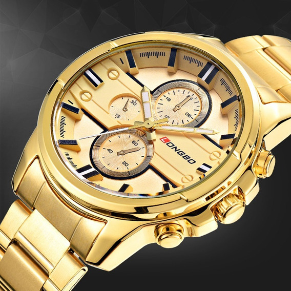 Relógio Longbo Dourado Ouro Com Frete Grátis E Caixinha
