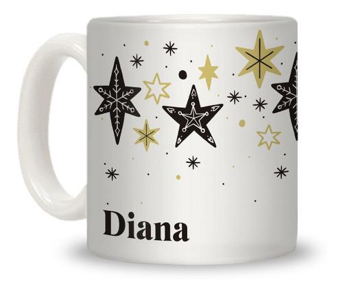 Taza Personalizada Con Tu Nombre Estrellas Navidad