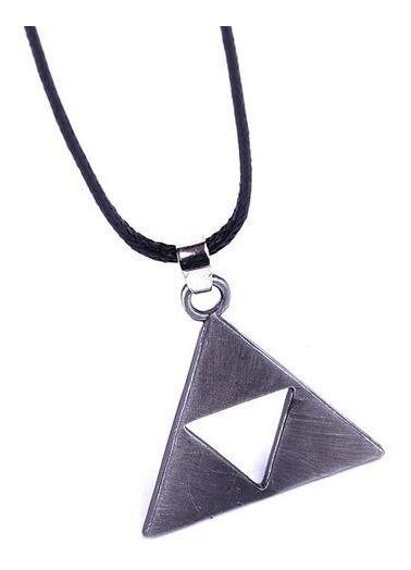 Colar Zelda Link Simbolo Triforce Cor Prata Antiga 1 Pc