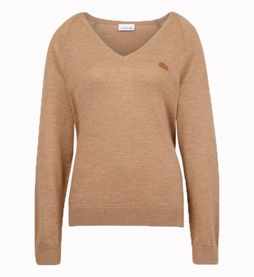Sweater Lacoste Mujer Escote En V Af8759 Lana Merino