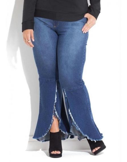 Calça Plus Size Jeans Barra Desfiada E Transpassada Quintess
