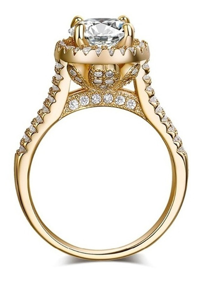 Aliança De Compromisso Luxo Anel De Ouro Clássico Banhado