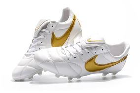 Chuteira Nike Premier 2.0 Campo Branco Couro Profissional :
