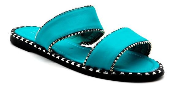 Zapatos Sandalias Mujer Bajas Urbanas Turquesa Leblu Z149