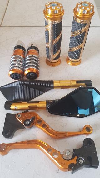Retrovisor Rizoma Pedaleira Manetes Titan Fan 150 Dourado