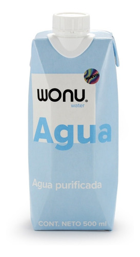 Wonu Water, Agua Natural, Eco-empaque, 500ml (12 Piezas)