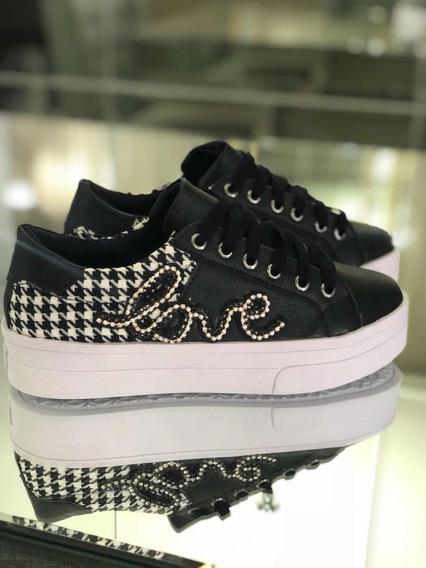 Tênis Primeshoes Gucci Inspired Preto Com Aplicação Em Stras