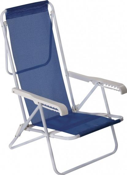 Kit 2 Cadeiras De Praia Aço Reclinável 8 Posições Azul Mor