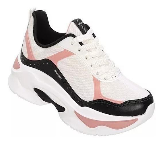 Tênis Feminino Azaléia Chunky Sneaker Branco Rosa