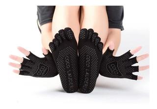 Set De Calcetines Y Guantes Yoga Antiderrapantes Dama Mujer