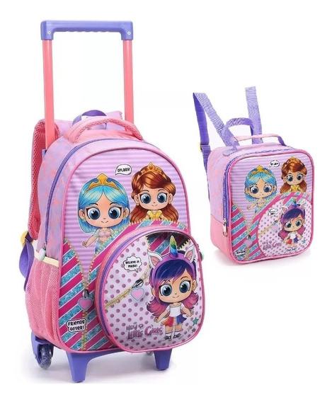 Kit Mochila Lol Infantil Escolar Girls Rodinhas G Seanite Rx