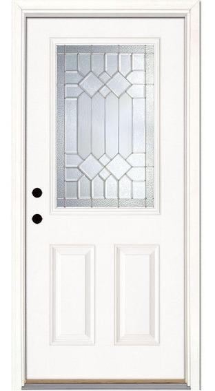 Puerta De Entrada Con Vitral Y Moldura En Fibra Importada