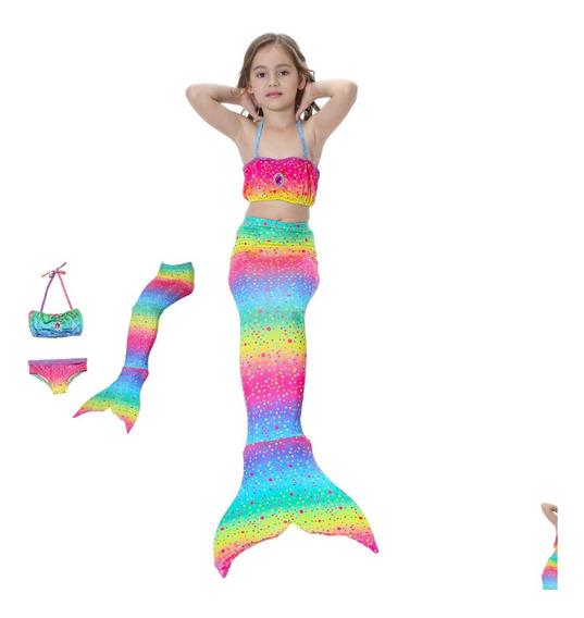 Cauda De Sereia Infantil Com Biquini Sem Nadadeira Pedra01