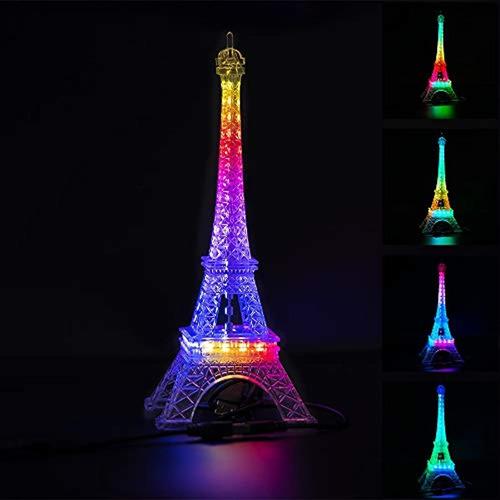 Torre Eiffel Incorporada Color Cambiante 9.8 Pulgadas 48 Led